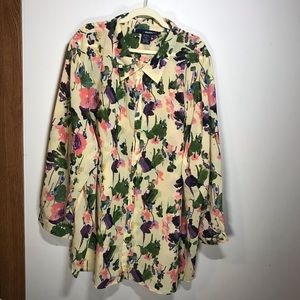 DENIM 24/7 Sheer Floral Blouse, Size 32W
